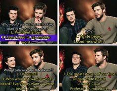 """Liam and Josh!! I'm laughing so hard!!! """"Santa Claus, Professor Dumbledore"""""""