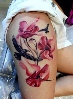 Thigh Tattoo Designs for Women; I´d like it better without the eagle though