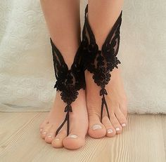 #Free #ship #Black #french #lace #gothic #barefoot #by #BarefootShop