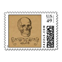 Vintage Skull Halloween Party Postage Stamp