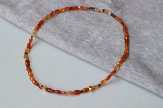 Carnelian Faceted and Smokey Quartz Gemstones with 24k Gold Vermeil Cube Beads Necklace by ILgems on Etsy