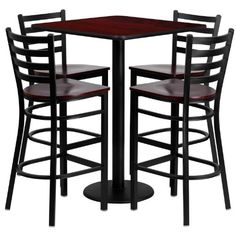 Flash Furniture 30 Square Mahogany Laminate Table Set with 4 Ladder Back Metal Bar Stools with Mahogany Wood Seat -- You can get more details by clicking on the image.Note:It is affiliate link to Amazon.