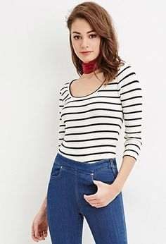 Striped Scoop Neck Top   Forever 21 - 2000182522