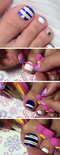 Seaside Nail Art | 18 DIY Toe Nail Designs for Summer Beach | Easy Toenail Art Designs for Beginners