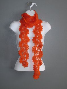Queen Anne Style Scarf in Tangerine/Orange.  by Bluetulipgifts, $21.99