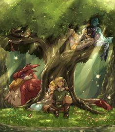 The Legend of Zelda: Skyward Sword | Link, Zelda, Link's Crimson Loftwing, Fi, and Ghirahim / 「休息」/「鯖之猫✿たまに来る」のイラスト [pixiv]