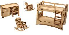 Кукольная мебель сборная Детская комната 5 предметов, дверцы открываются Надежный выбор (Йошкар-Ола)
