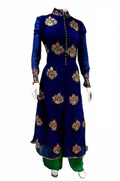 """http://www.istyle99.com/Salwar-Suit/Blue-Semi-Stitched-Georgette-Party-Wear-Salwar-Suit-5526.html Blue Semi-Stitched Georgette Party Wear Salwar Suit -Rs 1176 Stitch Type: Semi Stitched Occassion Type: Party Wear Kameez Colour: Blue Bottom Colour: Green Dupatta Colour: Green Kameez Fabric: Georgette Bottom Fabric: Santoon Dupatta Fabric: Chiffon Inner:Santoon Work Style: Embroidery Work TOP LENGTH(Mtr in case of Unstitched): 48inch CUSTOMIZED UP TO: 44"""" Style Type: Straight Cut Neck Style…"""