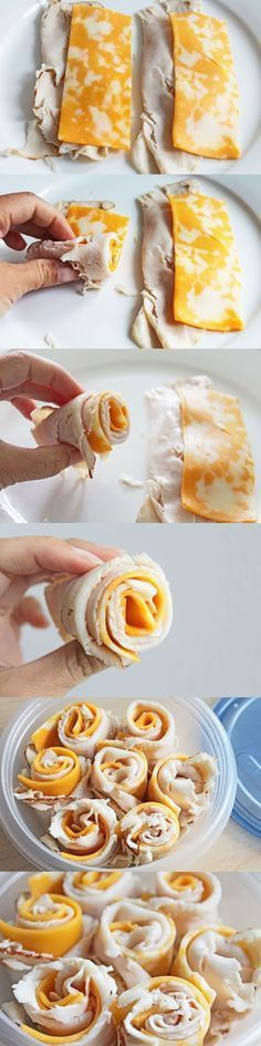 Turkey & Cheese Rolls // keep a bunch in the fridge for fast meals & snacks #lowcarb #protein #mealprep