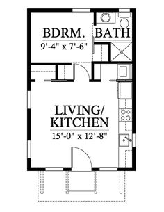 House Plan 73931 - Cabin, Cottage, Southern Style House Plan with 384 Sq Ft, 1 Bed, 1 Bath Small House Floor Plans, Cabin House Plans, Cabin Floor Plans, Family House Plans, One Room Houses, One Room Cabins, Southern House Plans, Country House Plans, Southern Cottage