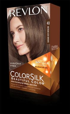 Revlon® ColorSilk Beautiful Color™. LONG LASTING, MULTI-DIMENSIONAL COLOR AND SHINE. My Shade: 40 MEDIUM ASH BROWN.