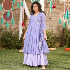 Did you tried angrakha this season and a beautiful colour like lavender . Party Wear Indian Dresses, Indian Gowns Dresses, Indian Fashion Dresses, Dress Indian Style, Stylish Dresses For Girls, Stylish Dress Designs, Dress Neck Designs, Designs For Dresses, Simple Kurta Designs