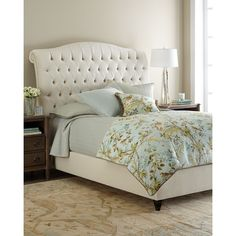 Haute House Harper Tufted Ivory Velvet Queen Bed ($4,429) ❤ liked on Polyvore featuring home, furniture, beds, hollywood furniture, antique white furniture, velvet tufted bed, cal king bed and tufted furniture