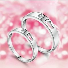 """The Footprints Of Love"" Unique 925 Sterling Silver Lover's Heart Couple Rings (Price For a Pair) - USD $43.95"