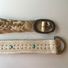 Belt Bundle These belts are NWOT. My mom received them as a gift but doesn't wear belts so they've never been worn. One has a beautiful lace design with turquoise colored stone accents, while the other features a twist on a classic braid design and intricate detailing on the buckle. Both are size 17. Accessories Belts