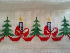 Trees and candles for Christmas! DMC DMC 726 and DMC 820 - cross stitch Cross Stitch House, Cross Stitch Borders, Cross Stitch Flowers, Cross Stitching, Cross Stitch Embroidery, Cross Stitch Patterns, Diy Christmas Ornaments, Christmas Cross, Christmas Candles