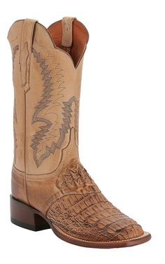 Lucchese® Cowgirl™ Ladies Tan Burn Hornback Caimen Exotic Square Toe Cowboy Boot