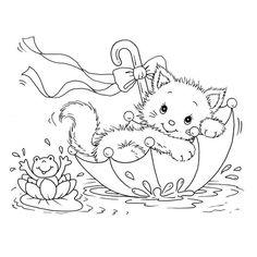 ausmalbild Kleine Katze in einem Regenschirm