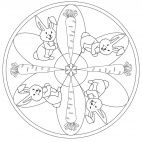 Easter Bunny and Carrot mandala for kids to print and color from www.kigaportal.com