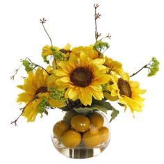 Silk sunflower and lemon arrangement in a clear vase.Product: Faux floral arrangementConstruction Material: Silk, plas...