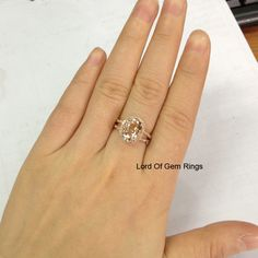 Morganite Diamonds Engagement Ring in 14K Rose GoldOval by TheLOGR