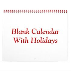 Blank Calendar With Holidays And Red Wire