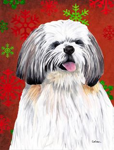 Shih Tzu Red and Green Snowflakes Holiday Christmas 2-Sided Garden Flag