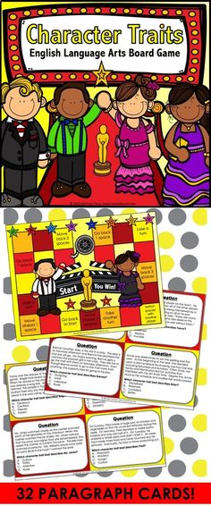 Character Traits: Character Traits game contains 32 game cards and a game board to help students practice identifying character traits from a short paragraph about a character. This character traits game works great as a pair/group activity, or for use in literacy centers.