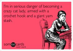 """""""I'm in serious danger of becoming a crazy cat lady, armed with a crochet hook and a giant yarn stash."""""""