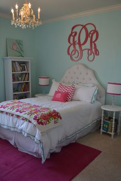 Hot pink and turquoise for a tween girl's room.