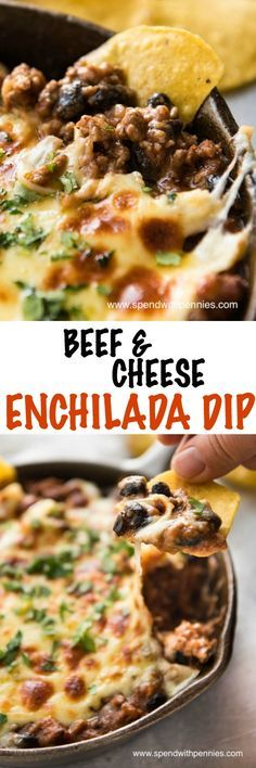 If you love Enchiladas and you love dip, then you'll LOVE this Beef Enchilada Dip! Everything you know and love about Enchiladas, in a hot bubbly dip. Made with ground beef, the secret ingredient is refried beans which makes it gorgeously creamy and dip-l Mexican Dishes, Mexican Food Recipes, Beef Recipes, Cooking Recipes, Dip Recipes, Weekly Recipes, Beef Enchilada Dip, Beef Enchiladas, Sauces
