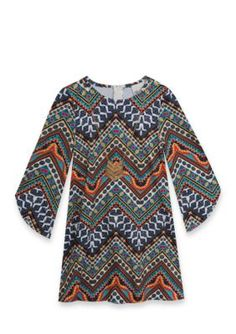 Rare Editions Chevron Print Dress Girls 4-6X - Navy - 6X