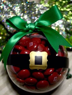 Cool Christmas craft cool green bow with a paper made belt  cool with red  m&ms