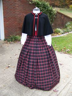 Civil War costume Dickens Christmas  Plaid Long by civilwarlady, $34.99