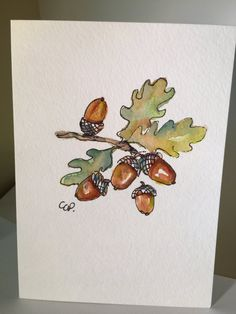 Acorn Watercolor Card by gardenblooms on Etsy