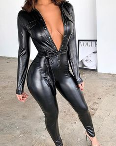 Leather Jumpsuit, Black Jumpsuit, Sexy Outfits, Overall Jumpsuit, Mona Lisa, Leder Outfits, Leather Lingerie, Mode Shop, Leggings