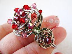 Wire Wrap Adjustable Rose Cuff by Wirebliss - with Swarovski Crystal