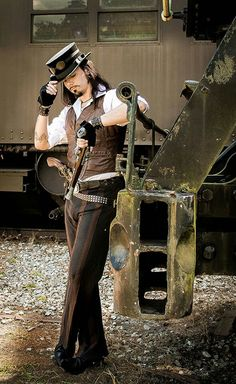 A very confident looking gentleman in Victorian steampunk costume. Could this be Lord Zacharias Azazel from TIMESCAPE?