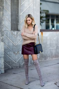 Leather skirt styled with thigh high boots and a cozy sweater. Leather Mini Skirts, Leather Skirt, Fall Winter Outfits, Autumn Winter Fashion, Skirt Fashion, Fashion Outfits, Womens Fashion, Woman Outfits, Casual Outfits