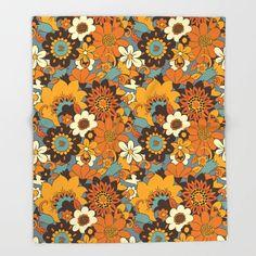 Flower Power 60s, Blue Throws, Bullet Journal Art, Retro Flowers, Retro Pattern, Throw Blankets, Floral, Prints, Warm