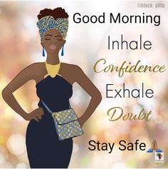 Black Girl Cartoon, Morning Blessings, Good Morning Quotes, Positive Quotes, Peplum Dress, African, Artworks, Inspiration, Beauty