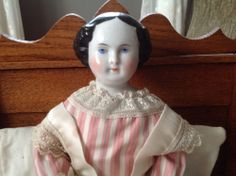 Darling Flat Top Antique China Doll in Silk Gown & Layers Of Undies - 18 in.