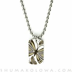 Pat Pruitt Stainless Steel Butterfly Dog Tag Necklace