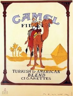 Fernando Bellver - Camel Cigarettes with Tintin and Milou on the camel - 1990 - W. Fernando Bellver - Camel Cigarettes with Tintin and Milou on the camel - 1990 - W. Edward Hopper, Tin Tin Cartoon, Vintage Cigarette Ads, Herge Tintin, Ligne Claire, Poster On, Vintage Advertisements, Vintage Posters, Screen Printing
