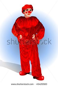 clown in a red suit and cap on a blue background