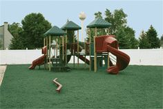 Playground with Green Rubber Mulch