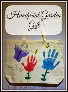 Handprint Garden Gift - This project is great for Grandparent day, Mother Day, Teacher appreciation, birthdays or Christmas. It can also be done on a bag, apron, tee-shirt, canvas, or other medias. The possibilities are almost endless!