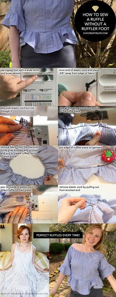 The step-by-step for how to sew a ruffle without a ruffler foot... this technique is super-easy and ANYONE can do it if you have a zigzag foot and some elastic for your machine! #sewing #howto