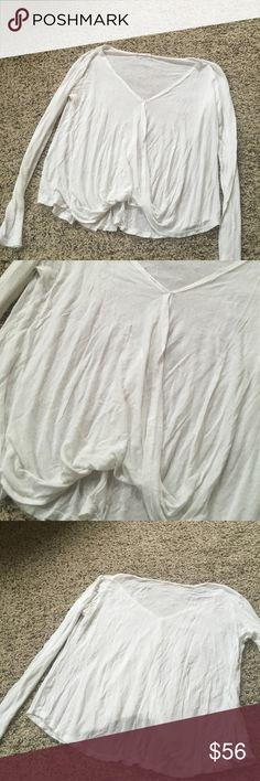 Luxurious white v neck flowy wrap white top Love LF Tops