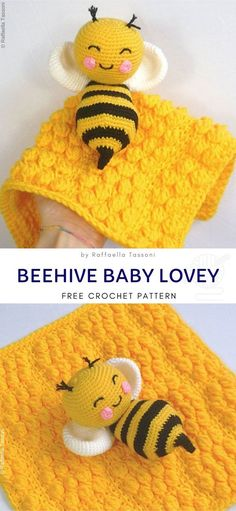 Beehive Baby Lovey Free Crochet Pattern Adorable yellow bee will always shine like a ray of sun, bringing cheerfulness to your baby's nursery. This lovely security blanket combines amigurumi with soft mini-blanket. Bobbly structure of the surface Crochet Lovey Free Pattern, Crochet Bee, Crochet Baby Toys, Crochet Blanket Patterns, Cute Crochet, Crochet Crafts, Baby Patterns, Baby Knitting, Crochet Projects